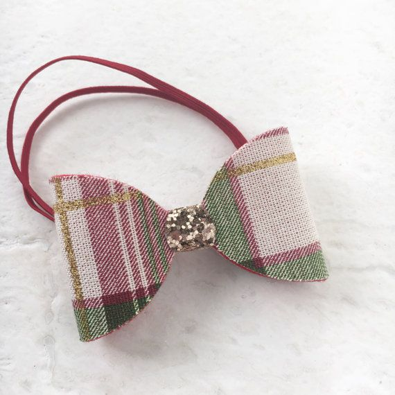 Plaid hair bow baby bow headband toddler by AlessandraCollection $5.50