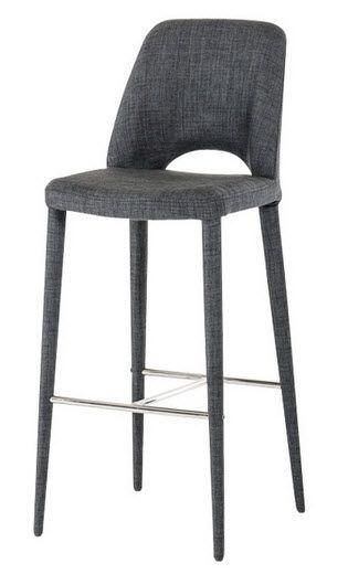 Modrest Williamette Modern Dark Grey Fabric Bar Stool Fabric Bar Stool Bar Stools Scandinavian Bar Stool Dark grey bar stools