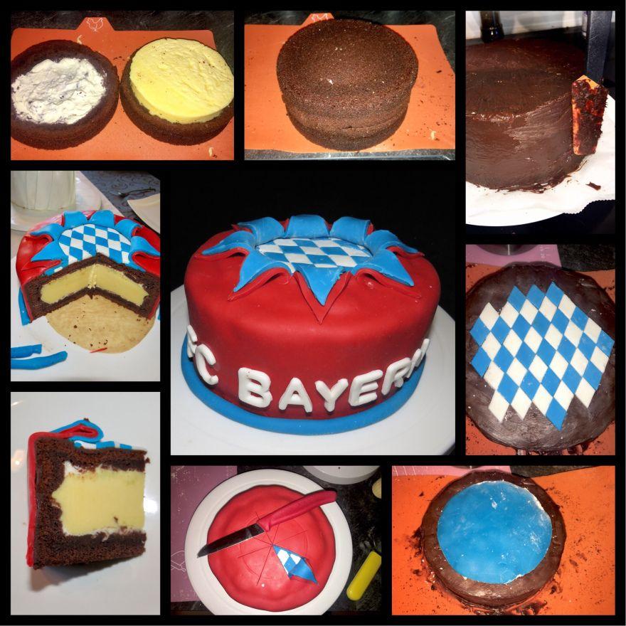 Schoko Bayern Munchen Torte Mit Kasekuchen Fullung Chocolate Bayern Munchen Cake With Cheesecake Filling In 2020 Schoko Kasekuchen Schoko Bayern Torte