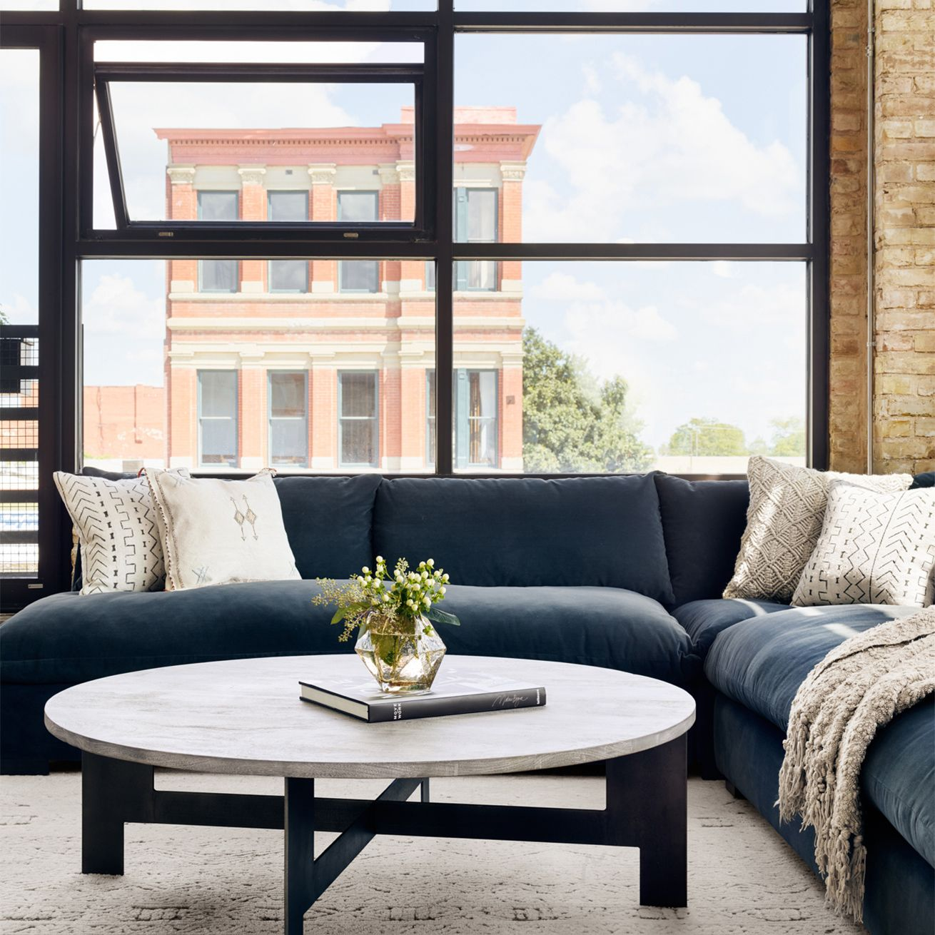Ingo Industrial Loft Grey Wood Iron Round Round Coffee Table Sectional Sofa Trendy Living Rooms Corner Sectional Sofa [ 1310 x 1310 Pixel ]