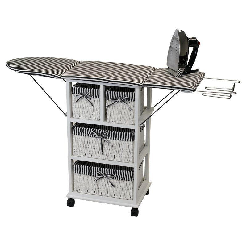 Fold Down And Roll Away Bamboo Ironing Center Ironing Board Storage Ironing Station Home Storage Units