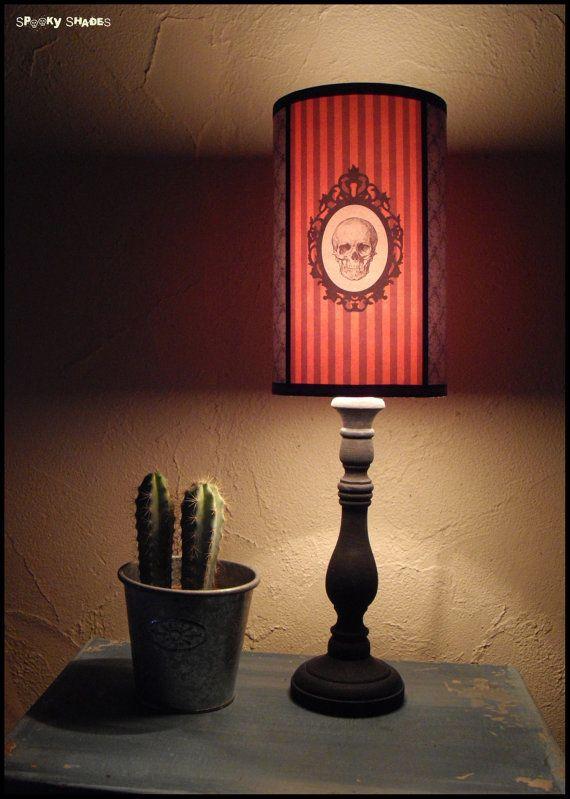 Halloween Decor orange Skull Lamp Shade Lampshade - unique lighting - bulk halloween decorations