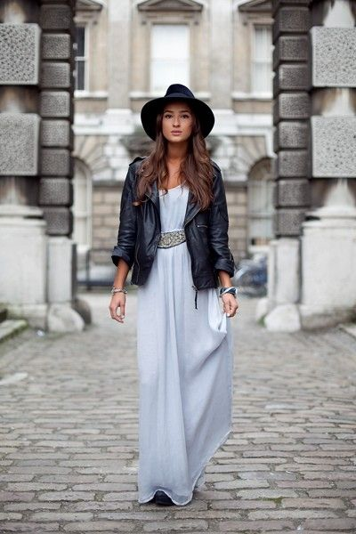 Super cute maxi and leather jacket | Fall   Winter | Pinterest ...