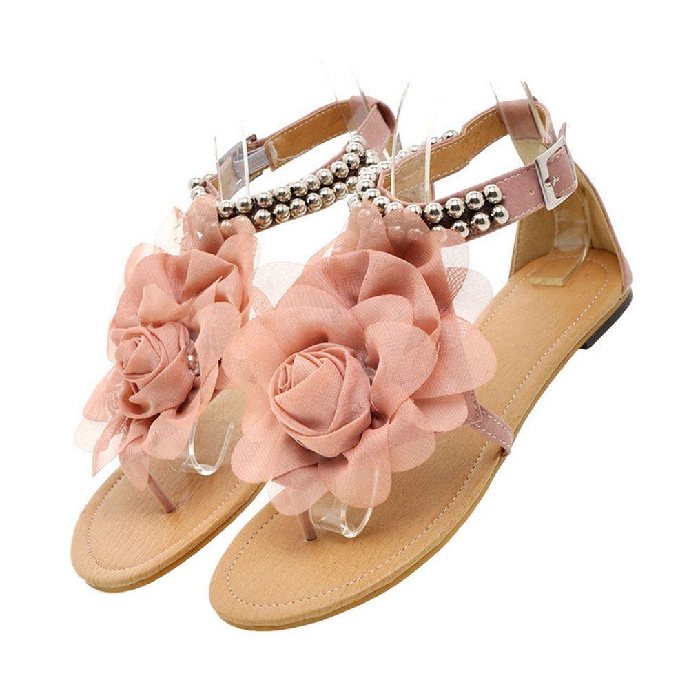 Flat Heel Flower Sandals Various Size Women Shoes Pink Flower Sandals Flower Shoes Beaded Sandals
