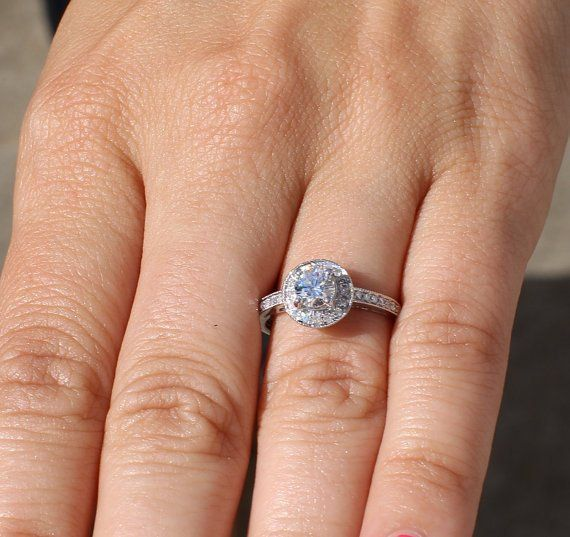 cebaab65f7a8e HALO Round Diamond Engagement Ring - .67 cttw - 1/2 carat center ...