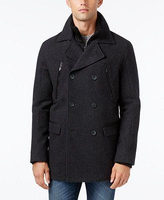 Calvin Klein Men's Layered Pea Coat - Coats & Jackets - Men - Macy's