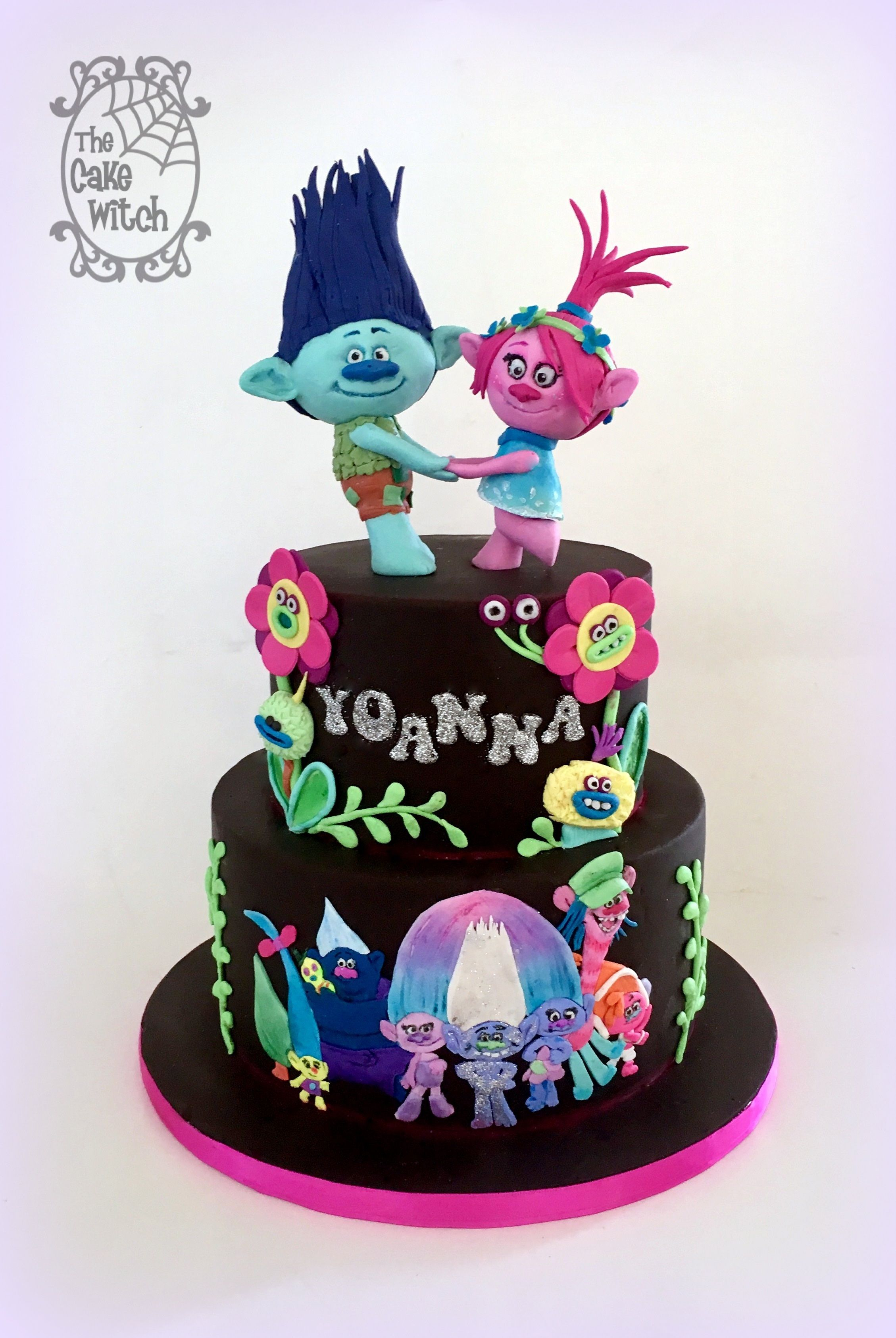 Trolls Cake 3D Trolls black and sumo colours The Cake Witch My