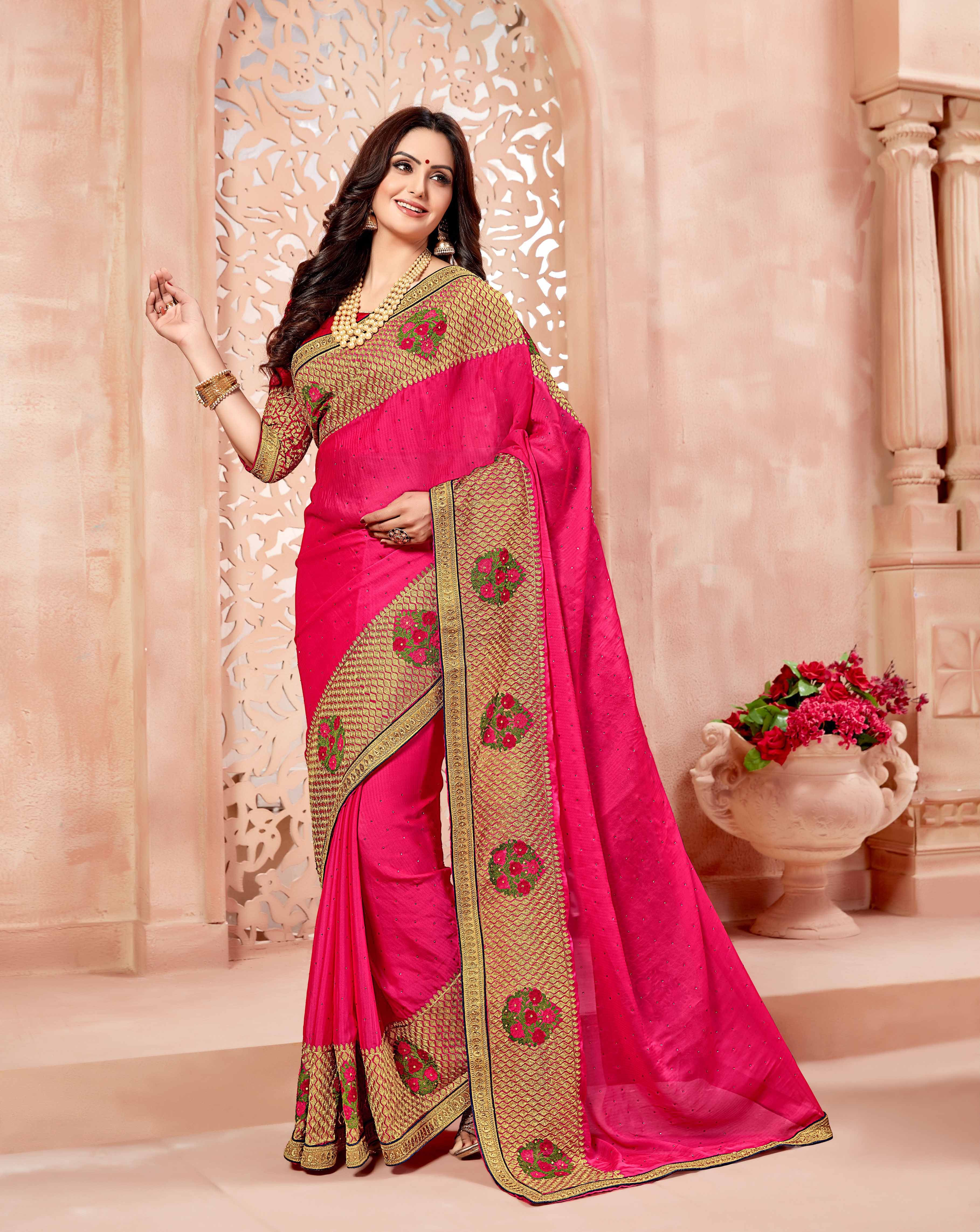 25ba3f6739f8cf Buy online Pink colour Heavy Designer Embroidered Saree at joshindia#saree,  #Wedding, #Hot, #Blouse, #Pattu, #Draping, #Farewell, #Photoshoot, #Cotton,  ...