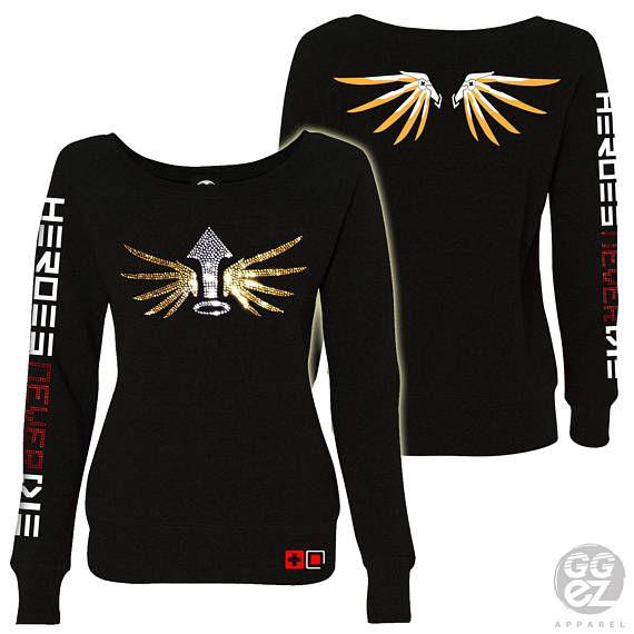 e3d81fd89 mercy overwatch, mercy sweatshirt, women, slouchy, off shoulder,hoodie,heroes,  never, die, wings,custom,ggez, rhinestone, gamers,overwatch