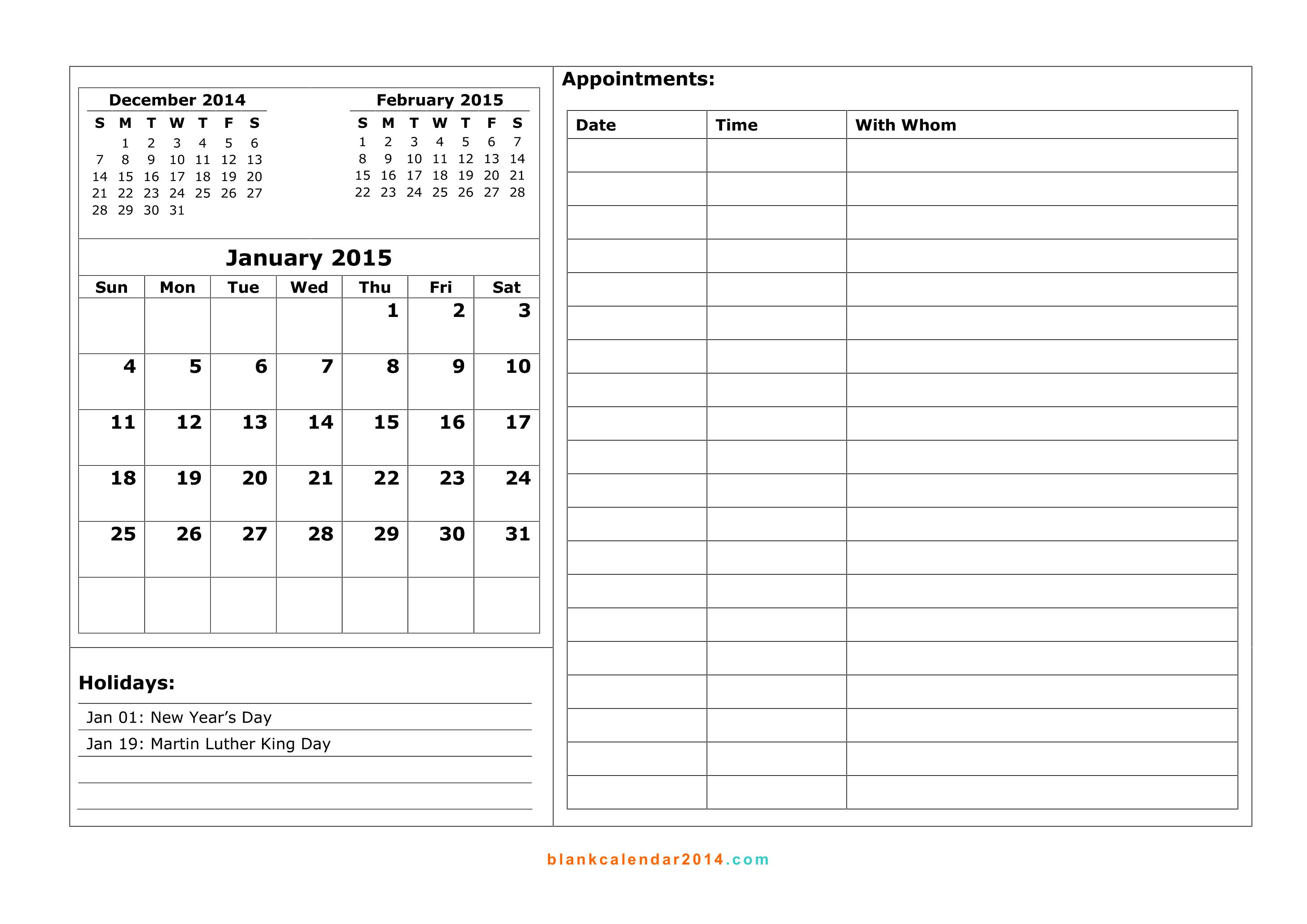 daily appt calendar