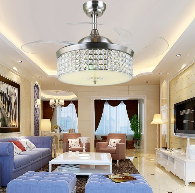 LED Fan Light Ceiling Fans Crystal With Remote Control Simple Stylish Modern Living Room Dining