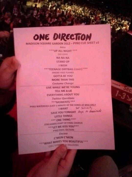 One direction at madison square garden pyro cue sheet - Harry styles madison square garden ...