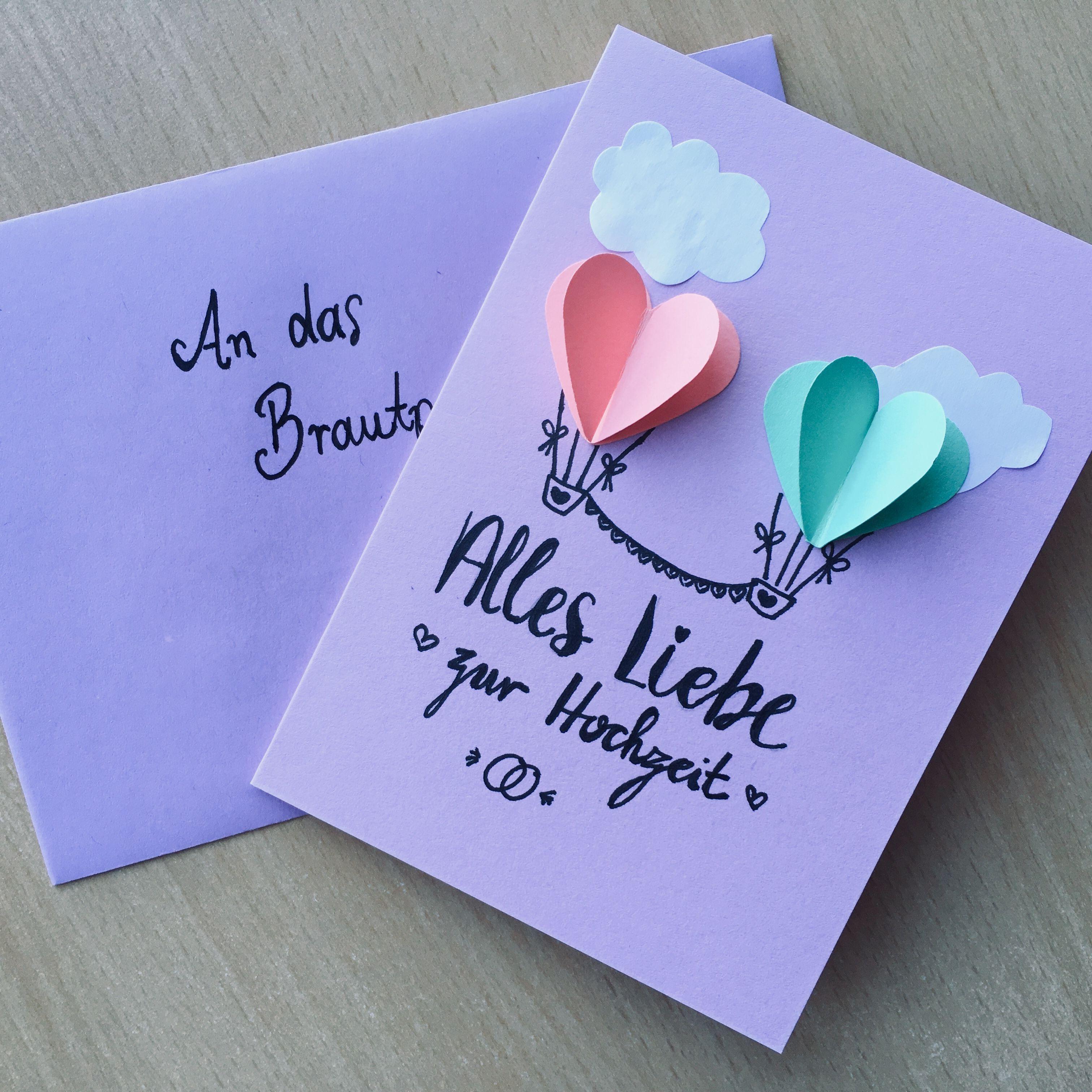 Hochzeitskarte Heißluftballons mit handlettering Alles
