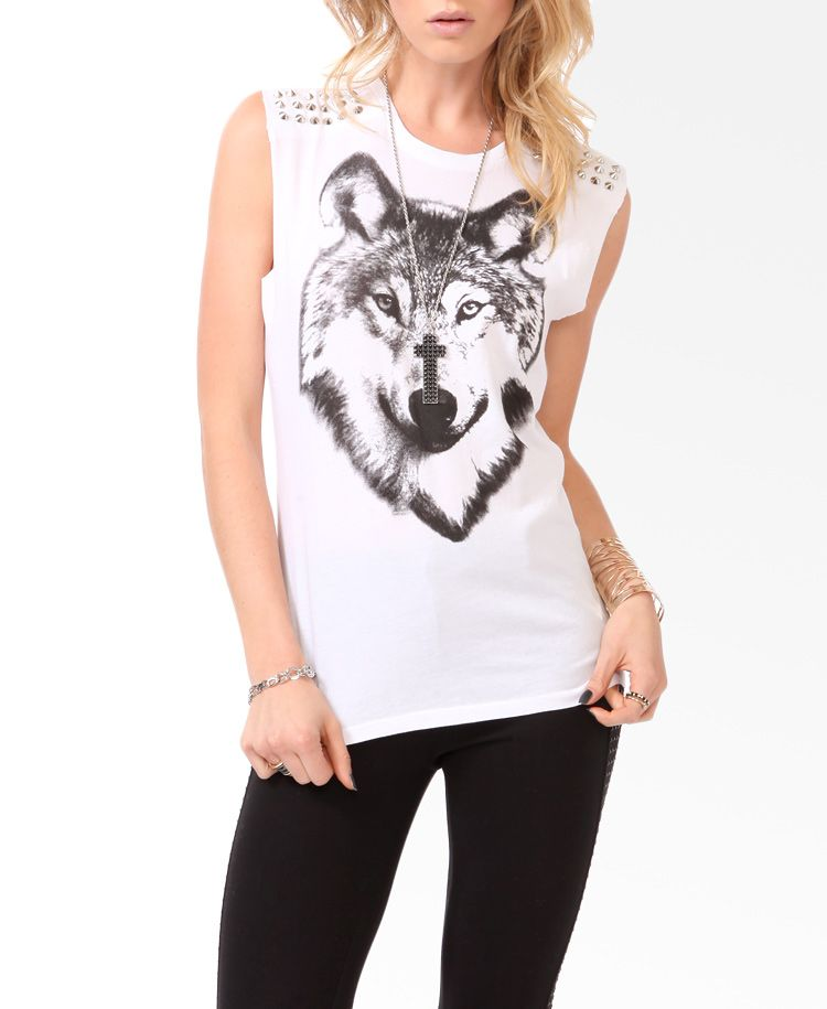 Spiked Wolf Graphic Muscle Tee   FOREVER21 - 2000050031