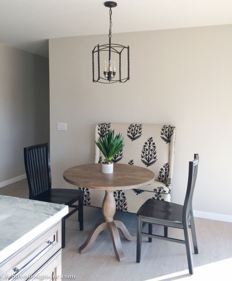 High Back Bench And Round Table Home Staging Interior Home Remodeling