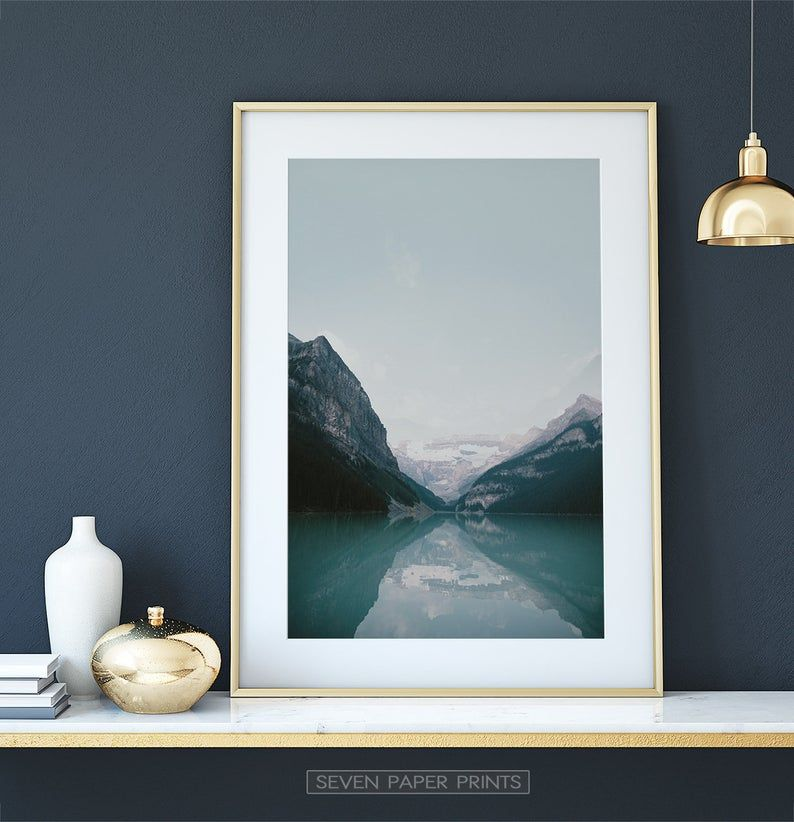 Lake Louise Wall Art Nordic Landscape Canada Lake Print From Etsy In 2021 Wall Art Mountain Wall Art Reflection Poster