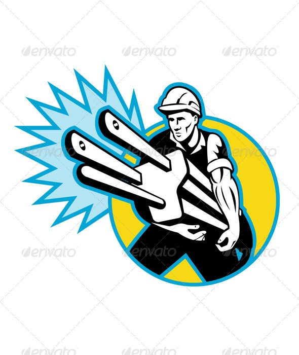 Electrician Worker Holding An Electric Plug Power Lineman Lineman Retro