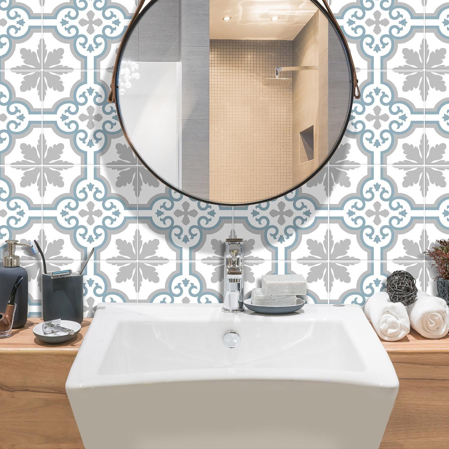 Credence Adhesive Imitant Carrelage Girona Bleu L 19 68 X L 19 68 Cm Smart Til Smart Tiles Credence Adhesive Parement Mural Et Deco Toilettes