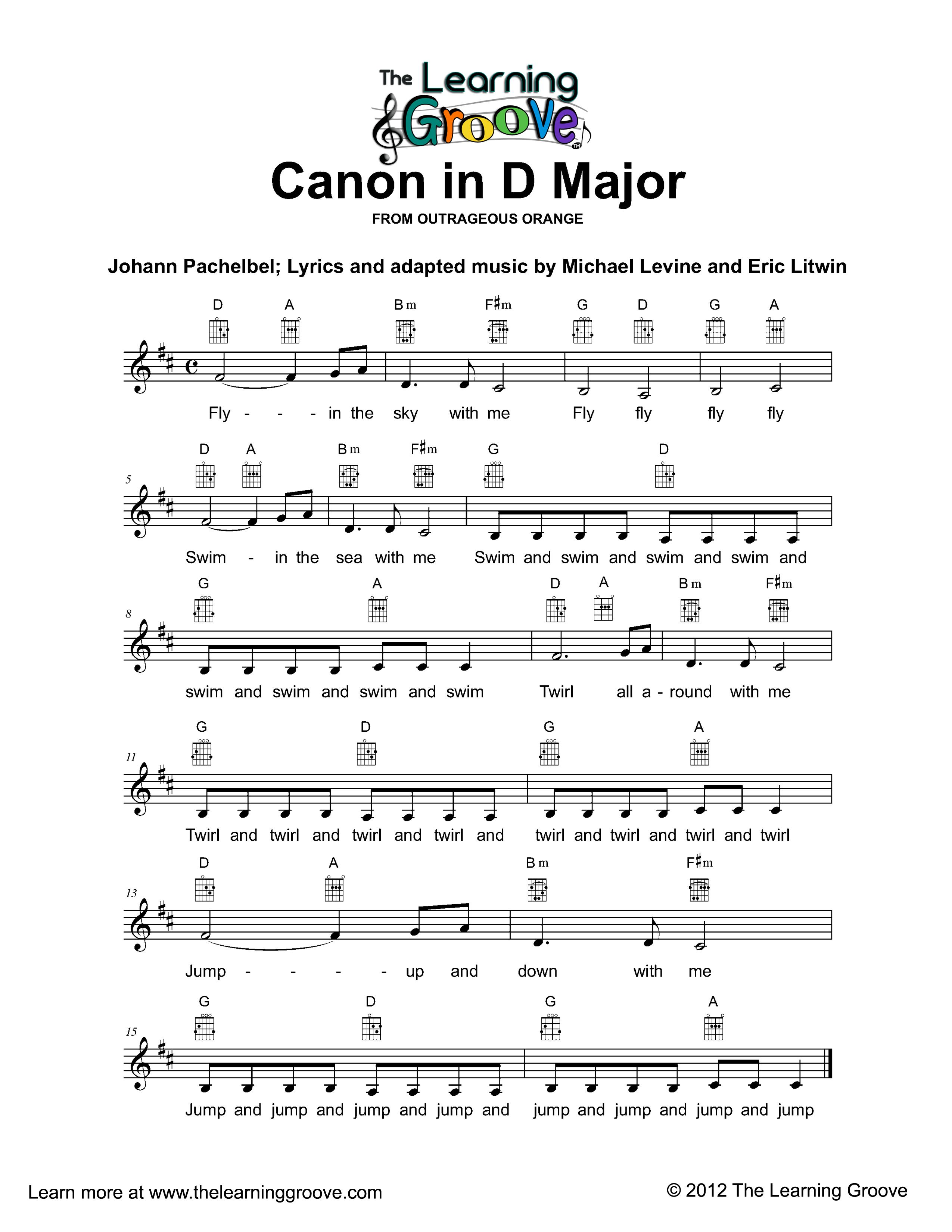 Canon In D Major Tlg Children S Songs And Activities With