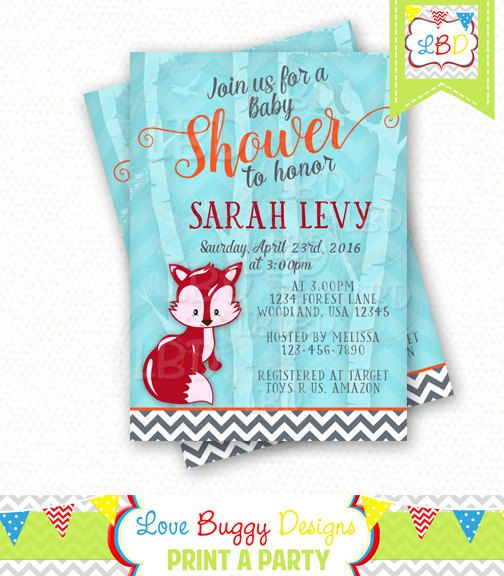 Woodland Baby Shower Invitation Fox  Style 8  by lovebuggydesigns
