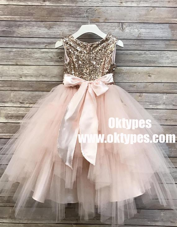 c1ddc5f487 Sequin Top Champagne gold Flower Girl Dress