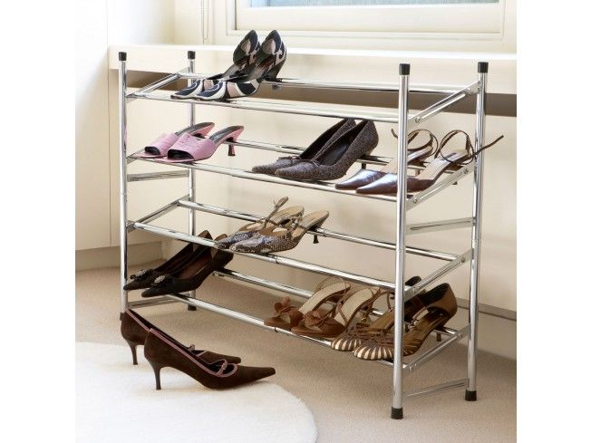 this expandable chrome shoe rack can be adjusted from 64cm to 117cm in width these
