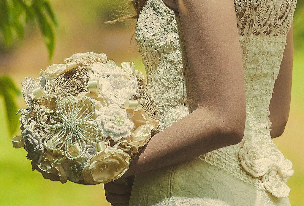 Personalizzato eleganti idee bouquet da sposa Crochet (22)