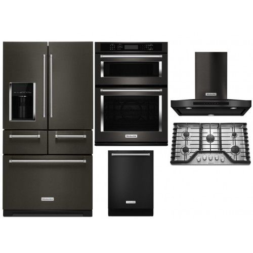 Incroyable KitchenAid Black Stainless Steel Appliances Package Free Standing  Refrigerator Gas Cook Top And Combination Wall Oven