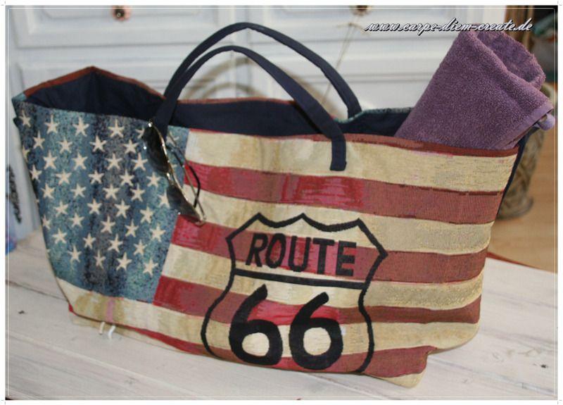 703be68a6d4ae Route 66  Strandtasche von Carpe diem create auf DaWanda.com