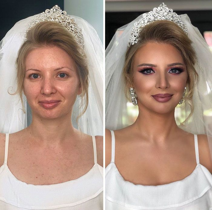 11 Photos Taken Before And After Brides Got Their Wedding Makeup Gallery