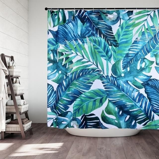 Tropical Palm Shower Curtain Tropical Shower Curtains Printed