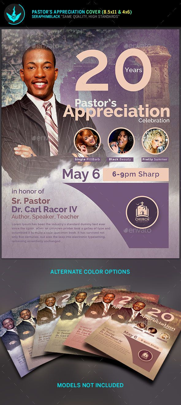 Modern Pastors Appreciation Flyer Template 2 Photoshop PSD Honor O Download