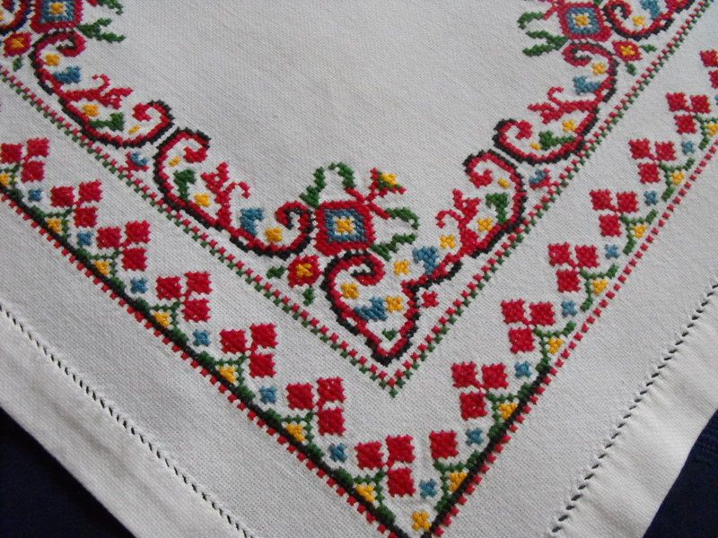 Charming Vintage Ukrainian Embroidered Tablecloth