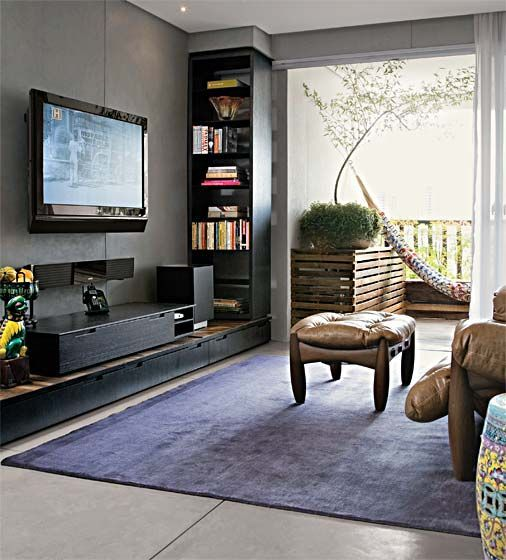 Sala Tv Com Home Theater ~ sala tv, home theater, rack preto, painel tv preto  Interior design