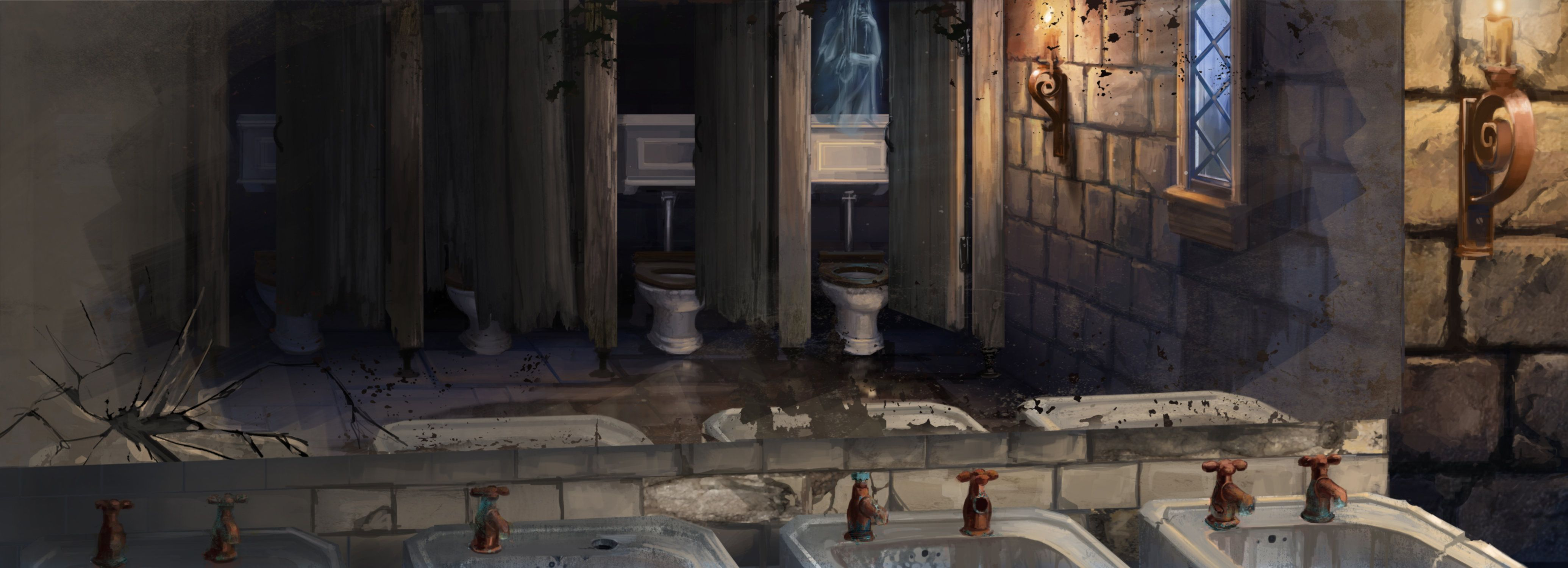 Moaning Myrtle in her bathroom from the Chamber of Secrets