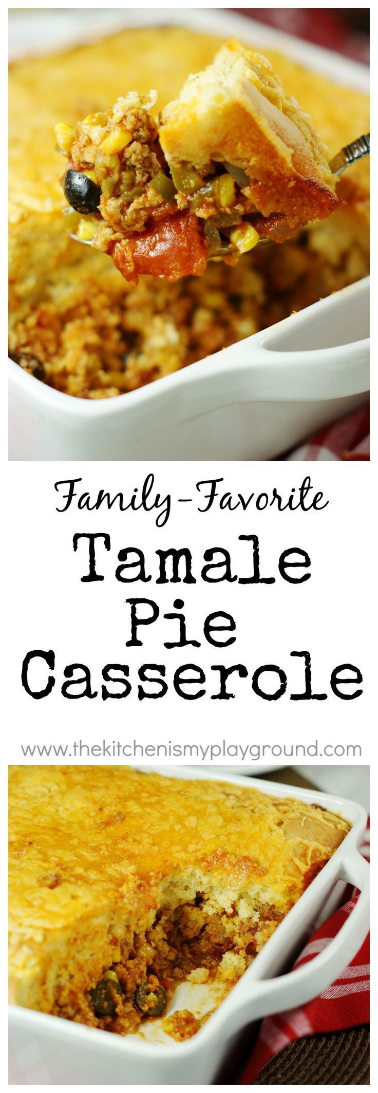 Tamale Pie Casserole ~ spicy ground turkey & vegetable filling topped with a thick layer of golden cornbread. A family favorite! www.thekitchenismyplayground.com #mexicancornbreadcasserole