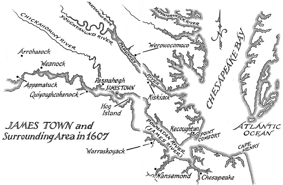 line art and stipple map of james town circa 1607 produced for random house the jamestown colonymap