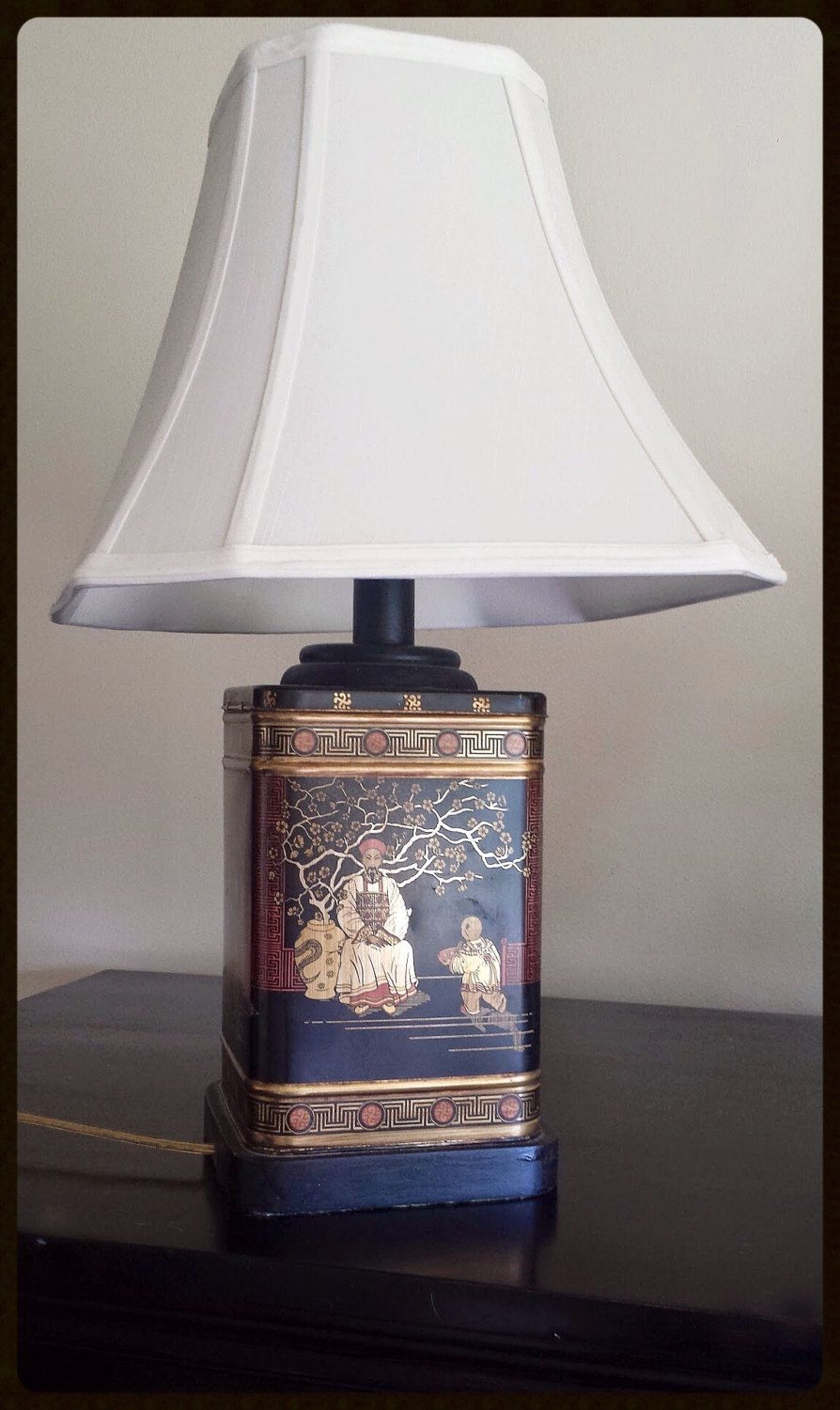 Vintage Oriental Asian Tea Caddy Tin Table Lamp Black Red Gold
