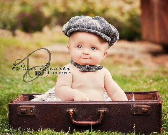 Newborn baby infant toddler boys newsboy hat in black and white herringbone vintage photo photography prop by fourtinycousins 28 00