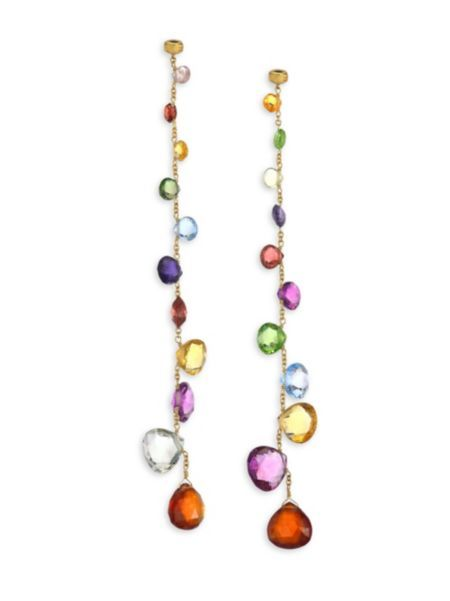 Marco Bicego Jaipur Drop Earrings with Mixed Elevated Gemstones O4mJh