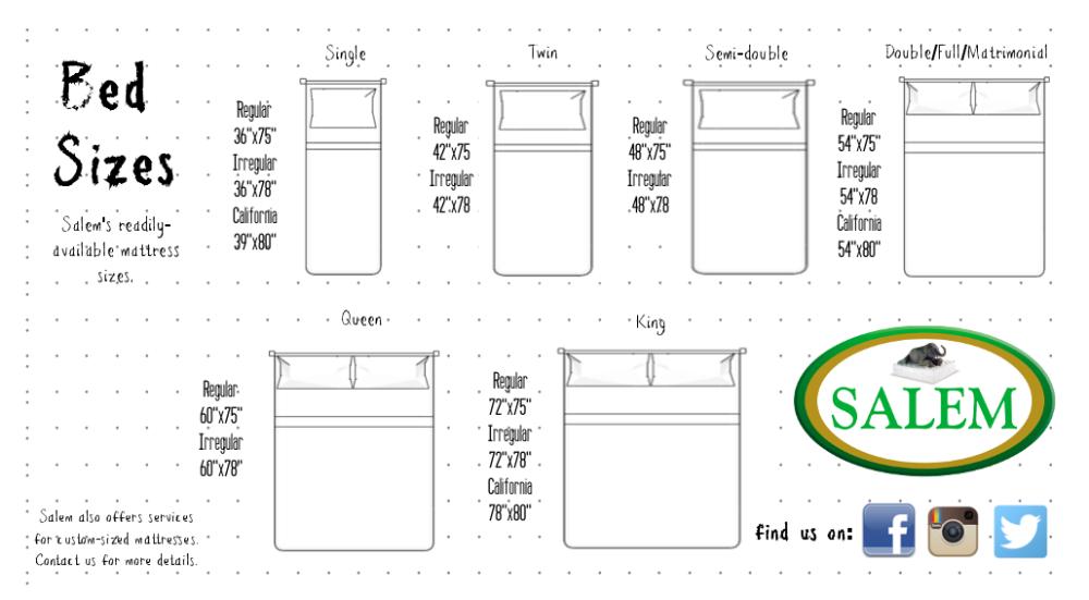 Salem Bed Sizes Google Search Bed Sizes Mattress Sizes King Size Mattress