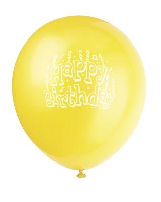 Sunburst Yellow Printed Happy Birthday Balloon