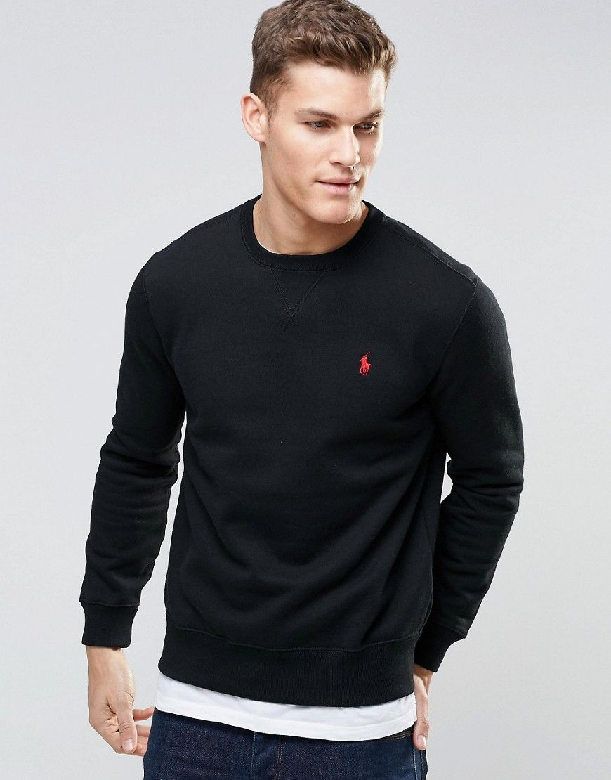 Polo Ralph Lauren Sweatshirt with Crew Neck In Black   Stylish men ... 6bc684dbc309