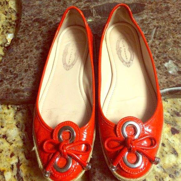 Ellie Tahari red patent leather espadrille flats These are adorable paten leather flats with espadrille trim.  Size 7. They are preowned and pre-loved but still have lots to offer. Elie Tahari Shoes Flats & Loafers