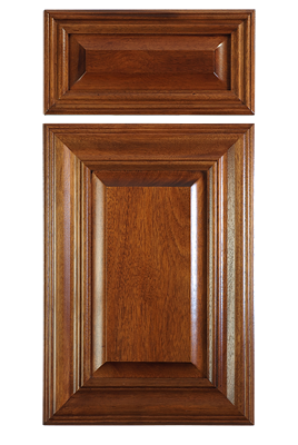 Mitered Raised Panel Cabinet Door In African Mahogany With Stain 5 Piece Drawer Front Reduced Frame