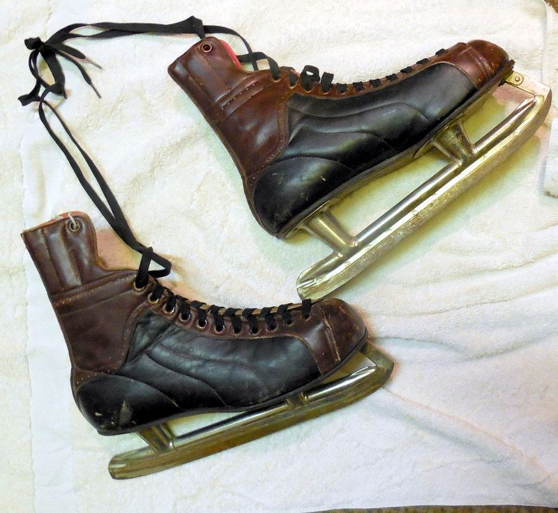 Vintage Sports Equipment Leather 1950's Ice Skates- Use As