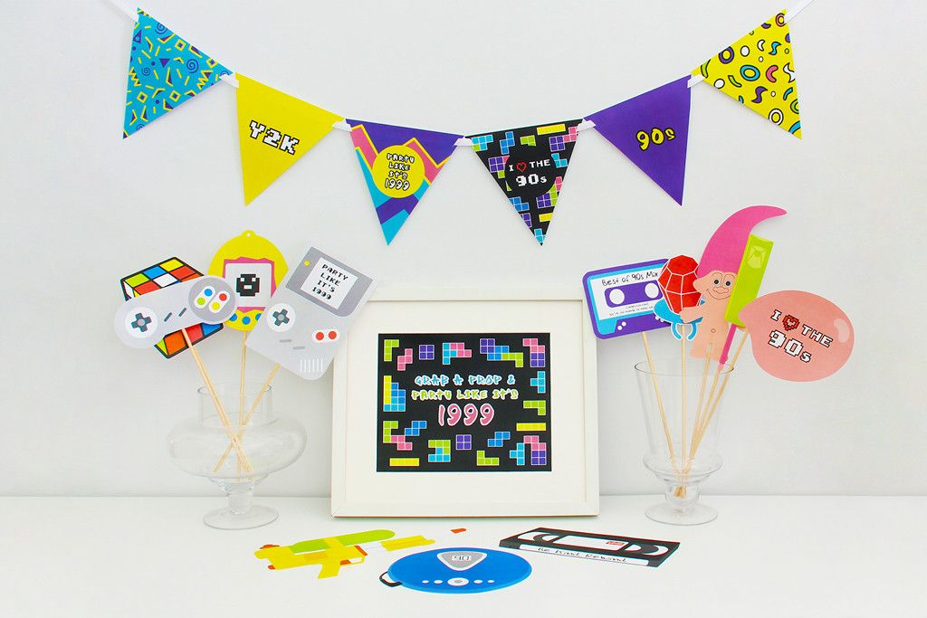 90s Party Printable, Photo Booth Props   INSTANT DOWNLOAD