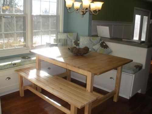 Kitchen bench seating withstorage on pinterest kitchen for Kitchen table with bench