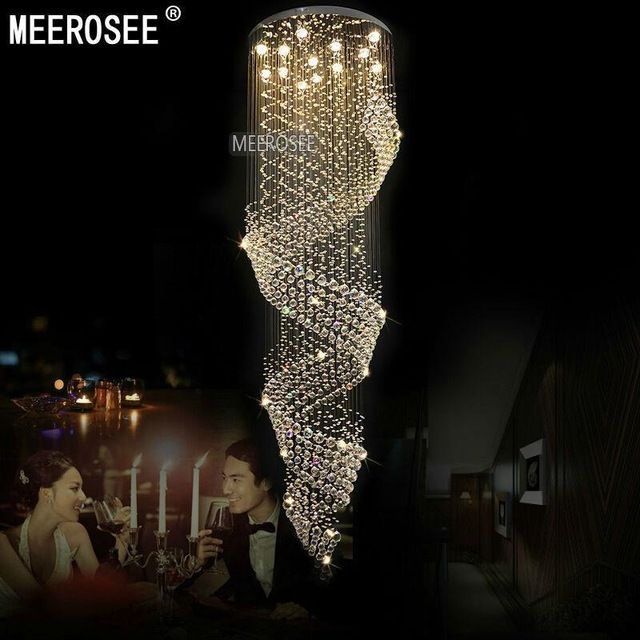 Long Size Crystal Chandelier Light Fixture for Lobby, staircase ...