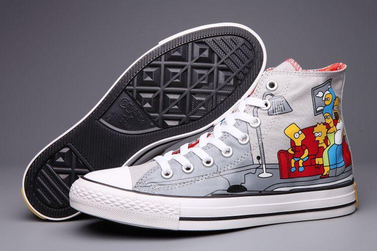 #converse Converse Simpson Grey High Tops Cartoon Womens Shoes · High  TopsConverseAll Star